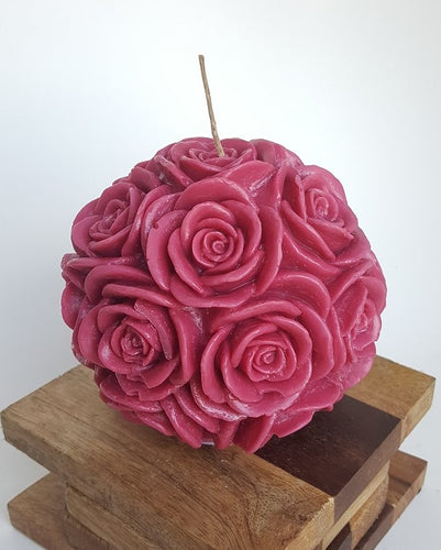 Large Round Rose ~ Burgundy Candle, Bear & Bee Shop, Bear & Bee Shop - Bear & Bee Shop