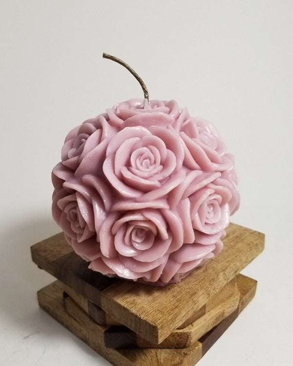 Large Round Rose ~ Dusty Pink Candle, Bear & Bee Shop, Bear & Bee Shop - Bear & Bee Shop