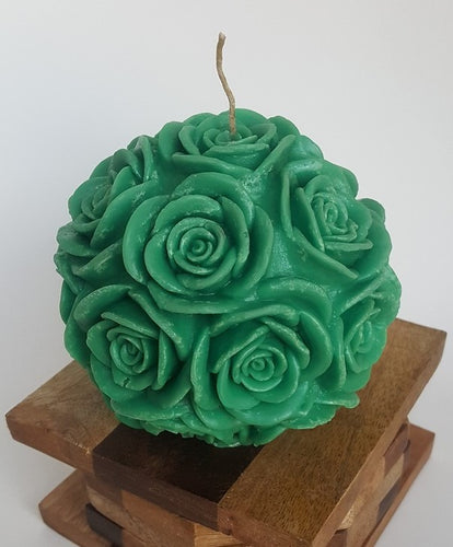 Large Round Rose ~ Forest Green Candle, Bear & Bee Shop, Bear & Bee Shop - Bear & Bee Shop