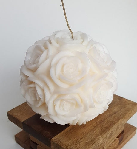 Large Round Rose ~ Ivory Candle, Bear & Bee Shop, Bear & Bee Shop - Bear & Bee Shop
