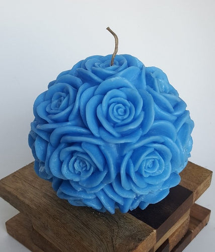 Large Round Rose ~ Royal Blue Candle, Bear & Bee Shop, Bear & Bee Shop - Bear & Bee Shop