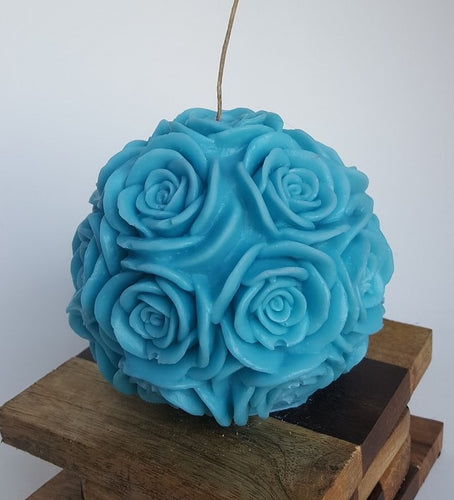 Large Round Rose ~ Turquoise Candle, Bear & Bee Shop, Bear & Bee Shop - Bear & Bee Shop