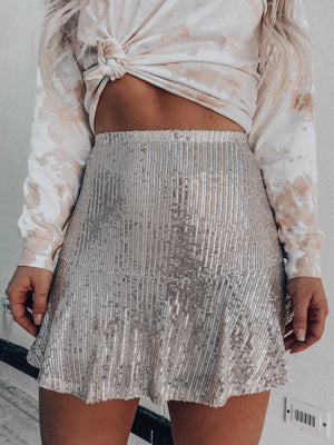 Champagne Showers Skirt: Beige
