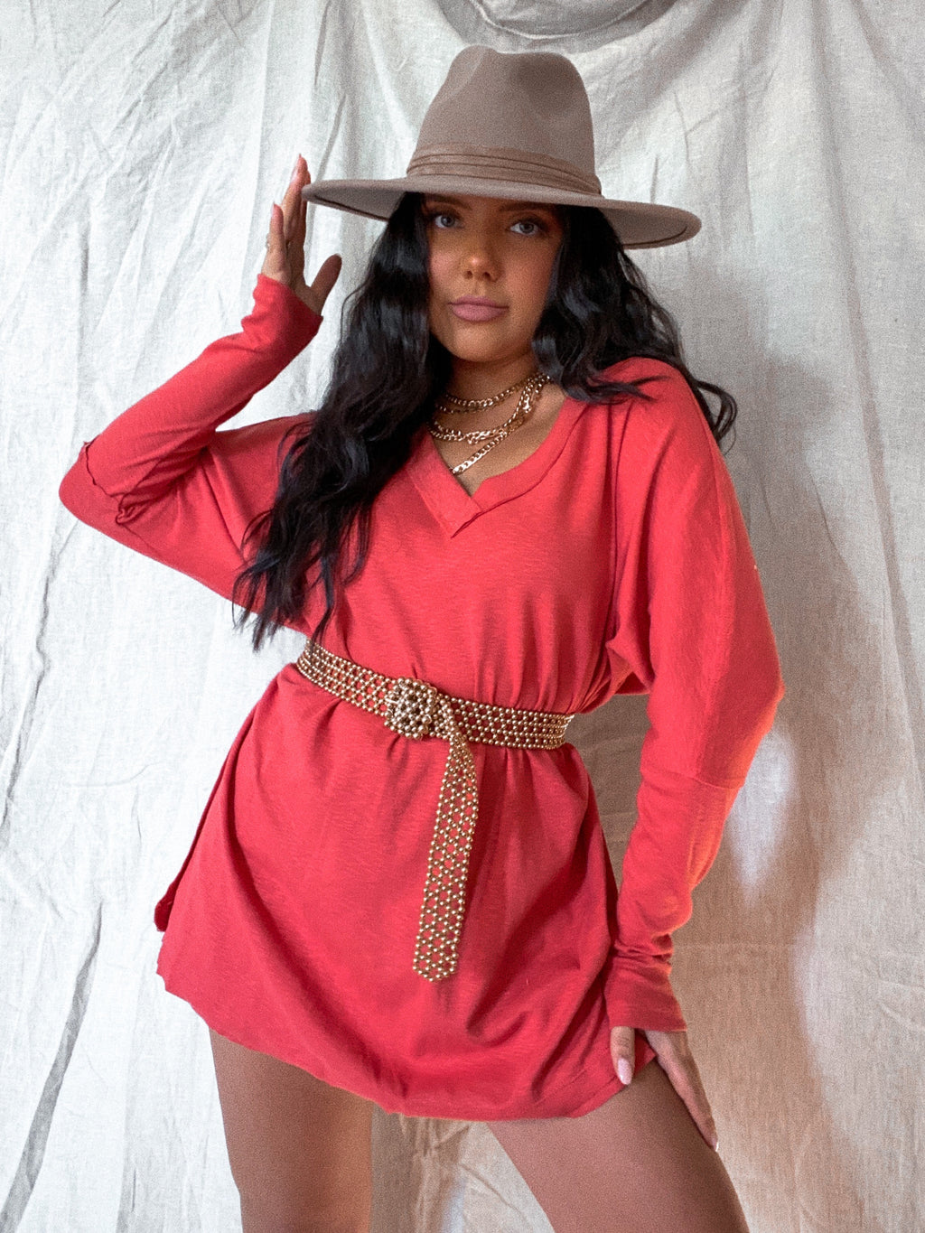 Holidaze Tunic: Burnt Red