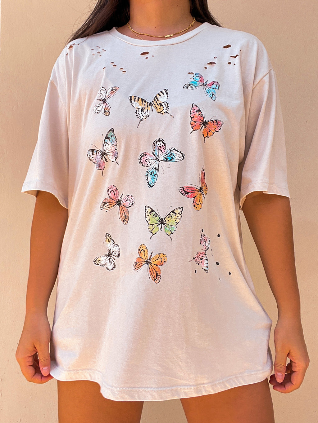 PRE-ORDER: Butterfly Graphic Tee: Stone