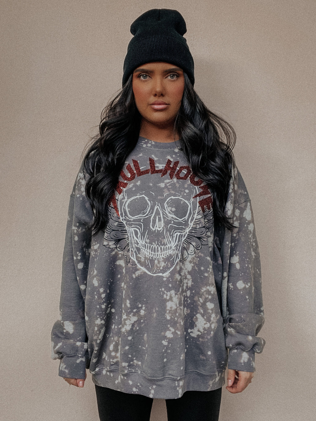 PRE-ORDER: Skull Angel Sweater: Charcoal
