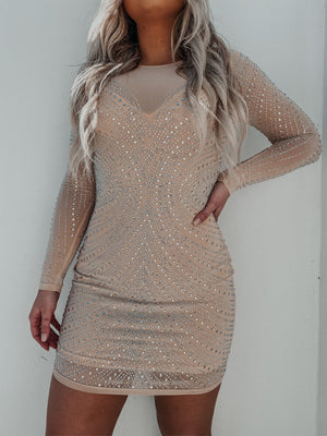 Dazzle Me Dress: Nude