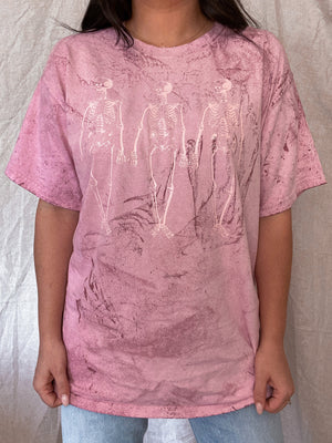 Blushed Skeleton Oversized Tee: Pink Marble