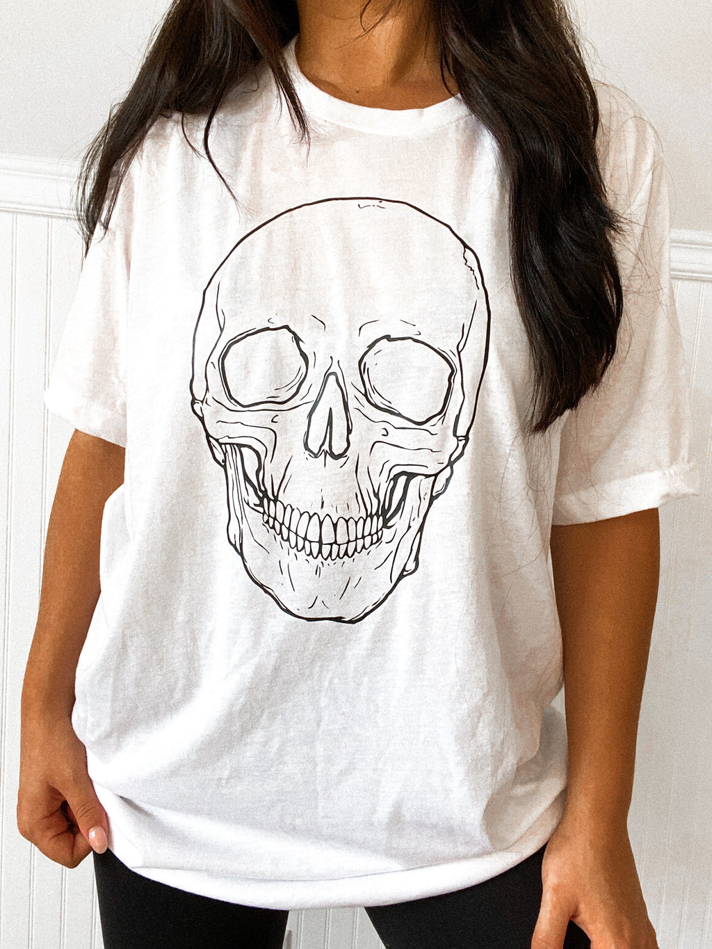 Skull Fitted Tee: White