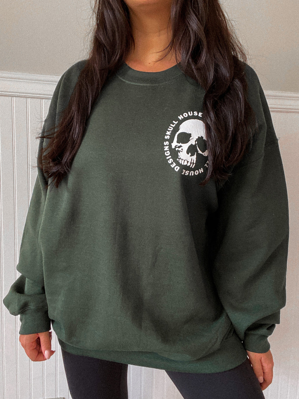 Skull House Oversized Sweater: Hunter Green
