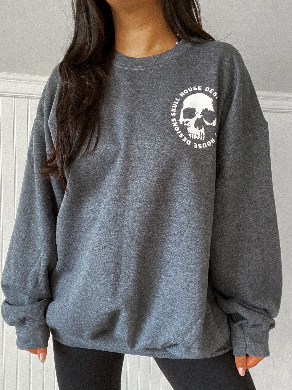 Skull House Oversized Sweater: Heather Grey