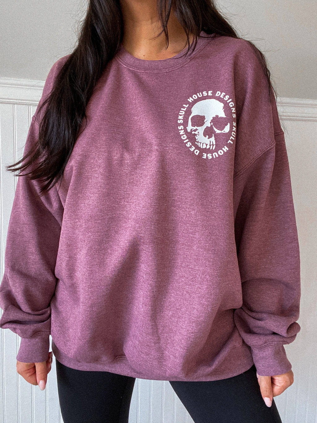 Skull House Oversized Sweater: Heather Maroon