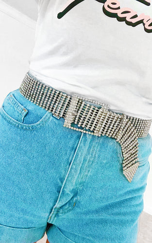 Crystal Luxe Belt: Silver