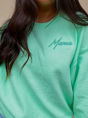 PRE-ORDER: Mama Retro Sweater: Mint
