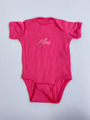 Mini Retro Onesie: Hot Pink