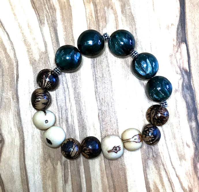 Seraphinite & Acai Seed Stretch Bracelet (A)