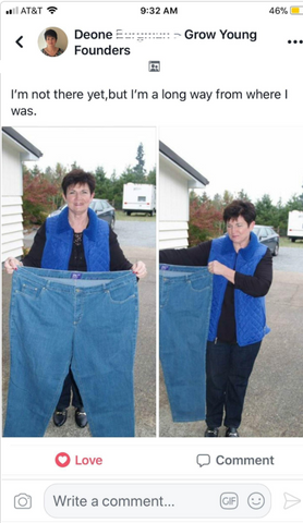 Facebook post screenshot of a users weight loss progress