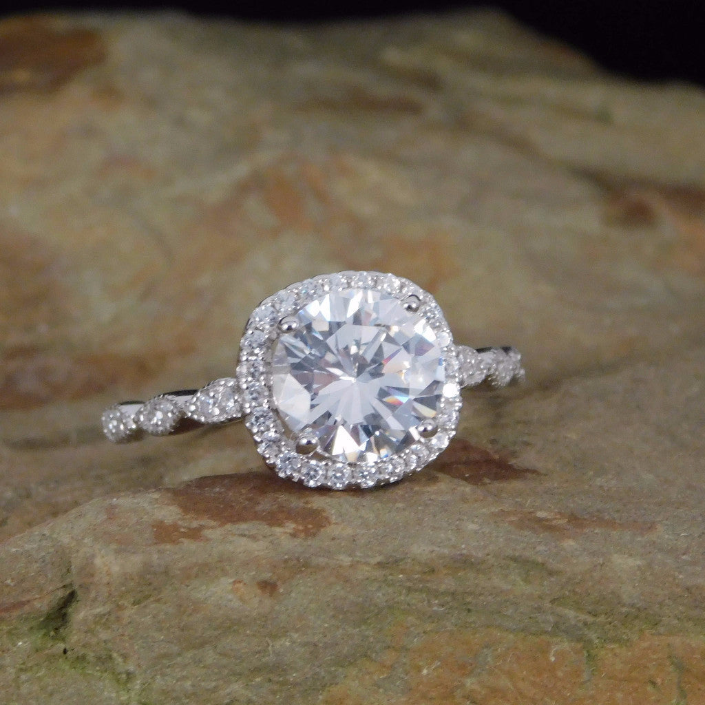 Sterling Silver Cushion Cut Halo 2 Carat Cz Engagement Ring