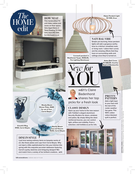 Women & Home Magazine South Africa September 2018 KNUS Feature