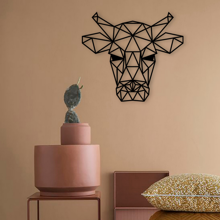Geometric Bull Steel Wall Art - KNUS