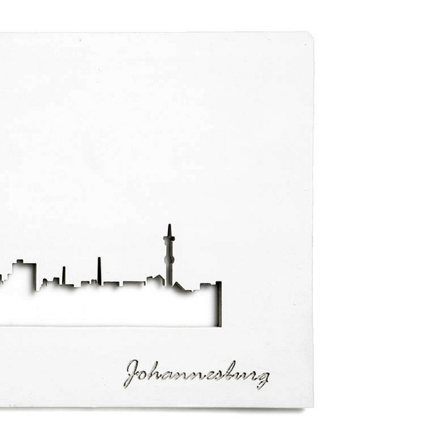 Joburg Skyline White Wall Art