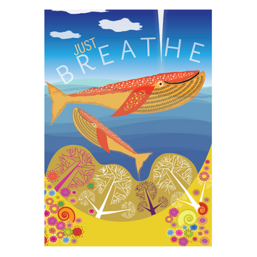 Just Breathe | Whale Mom and Calf Mindfulness Art Print - KNUS