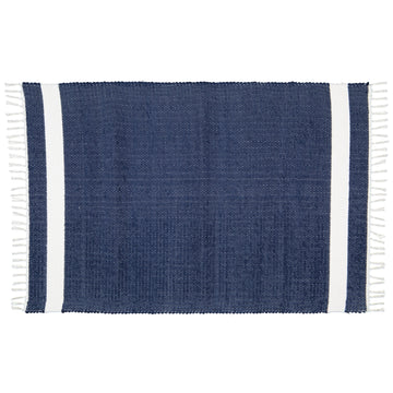 Dhurrie Tabby Navy with White Stripe Bath Mat - KNUS
