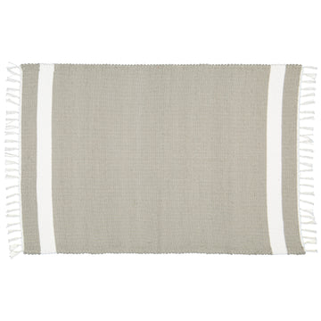 Dhurrie Tabby Grey with White Stripe Mat - KNUS