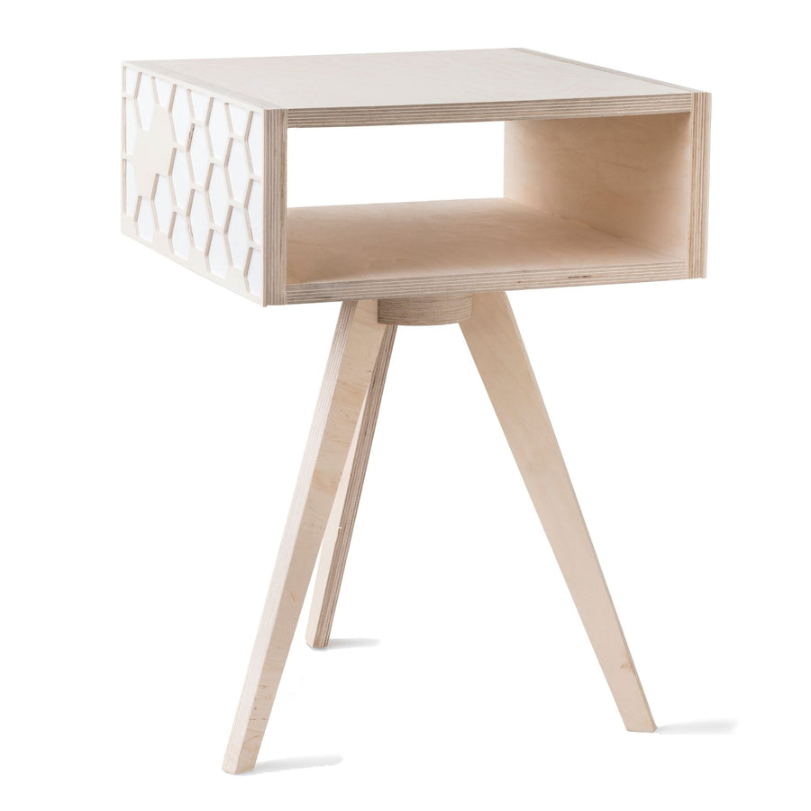White Hexa Bedside Table - KNUS