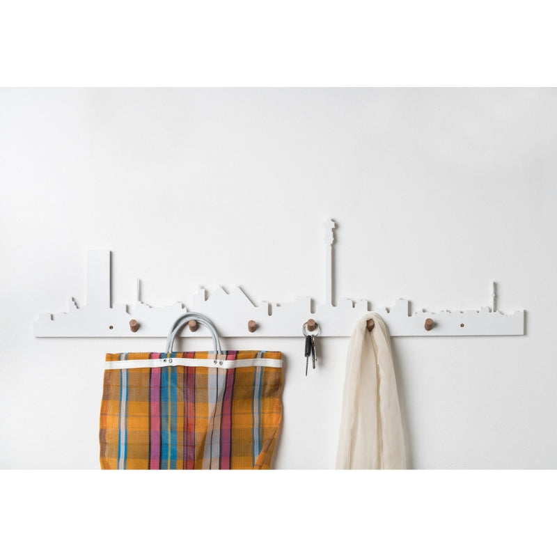 Johannesburg Skyline Wall Hook White