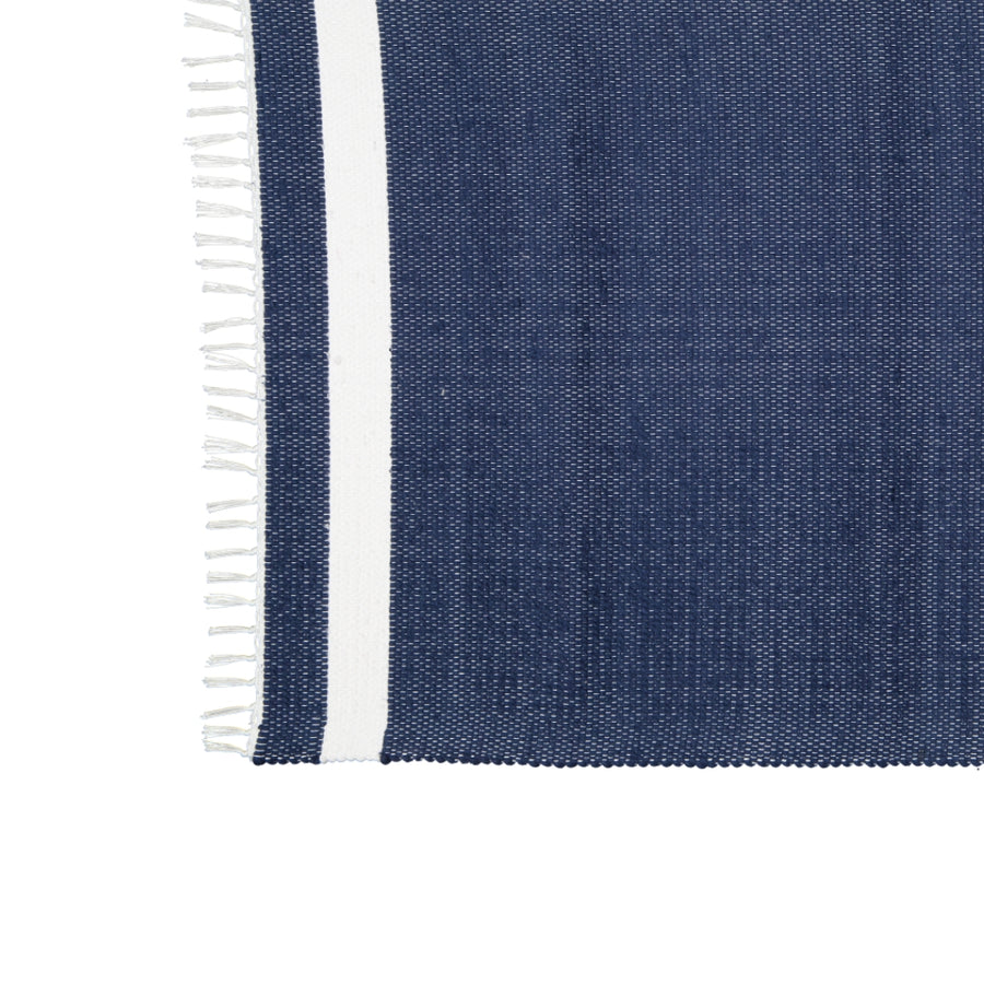 Dhurrie Tabby Navy with White Stripe Mat