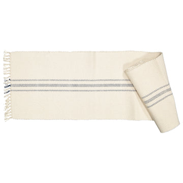 Dhurrie Tabby Natural with Charcoal Runner - KNUS