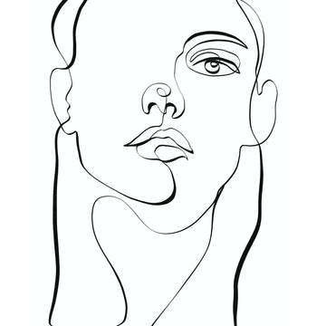 Face Outline Female Art Print - KNUS