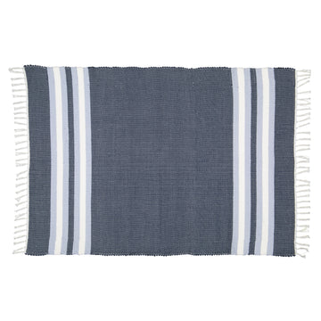 Dhurrie Navy and Blue Stripe Mat - KNUS