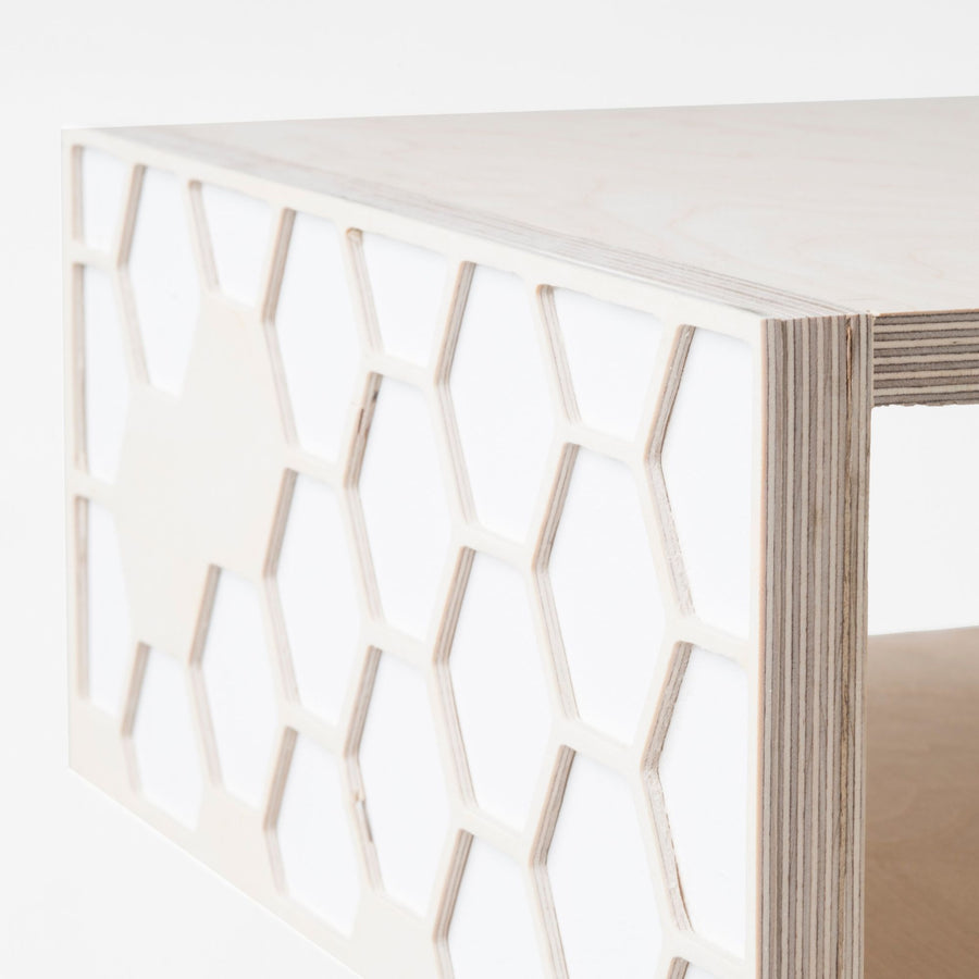 White Hexa Bedside Table