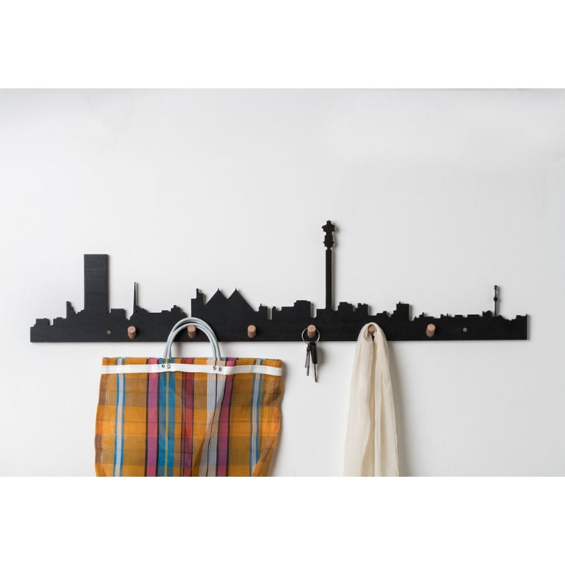 Johannesburg Skyline Wall Hook Black