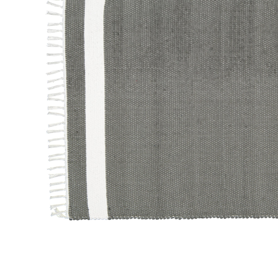 Dhurrie Tabby Charcoal with White Stripe Mat - KNUS