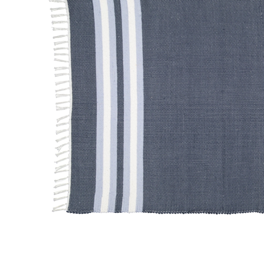 Dhurrie Navy and Blue Stripe Mat