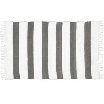 Dhurrie Fluffy Band Charcoal & White Mat - KNUS