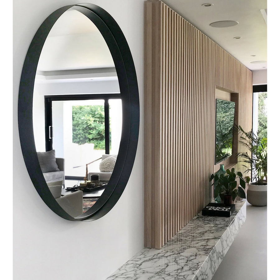 Steel Black Deep Frame Circular Mirror