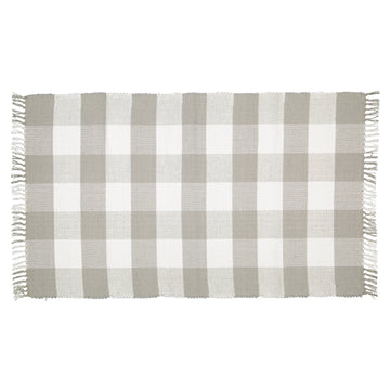 Dhurrie Checkered Grey and White Mat - KNUS