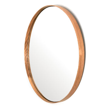 Oak Deep Frame Round Mirror