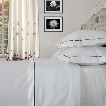 Classic One Row Satin Stitch Duvet Cover Set