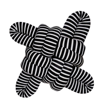 Black & White Stripe Square Knot Cushion - KNUS