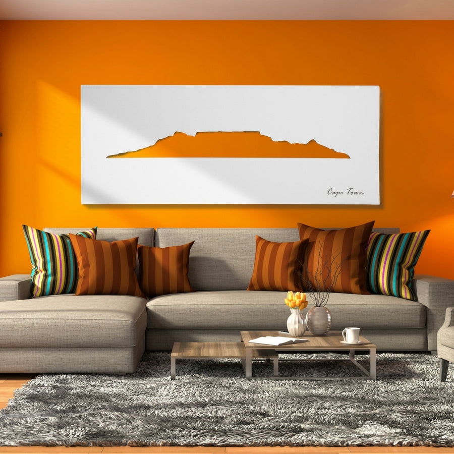 Cape Town Skyline White Wall Art - KNUS