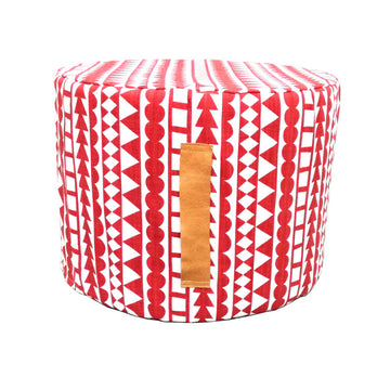 Tribal Stripe Red Floor Ottoman - KNUS