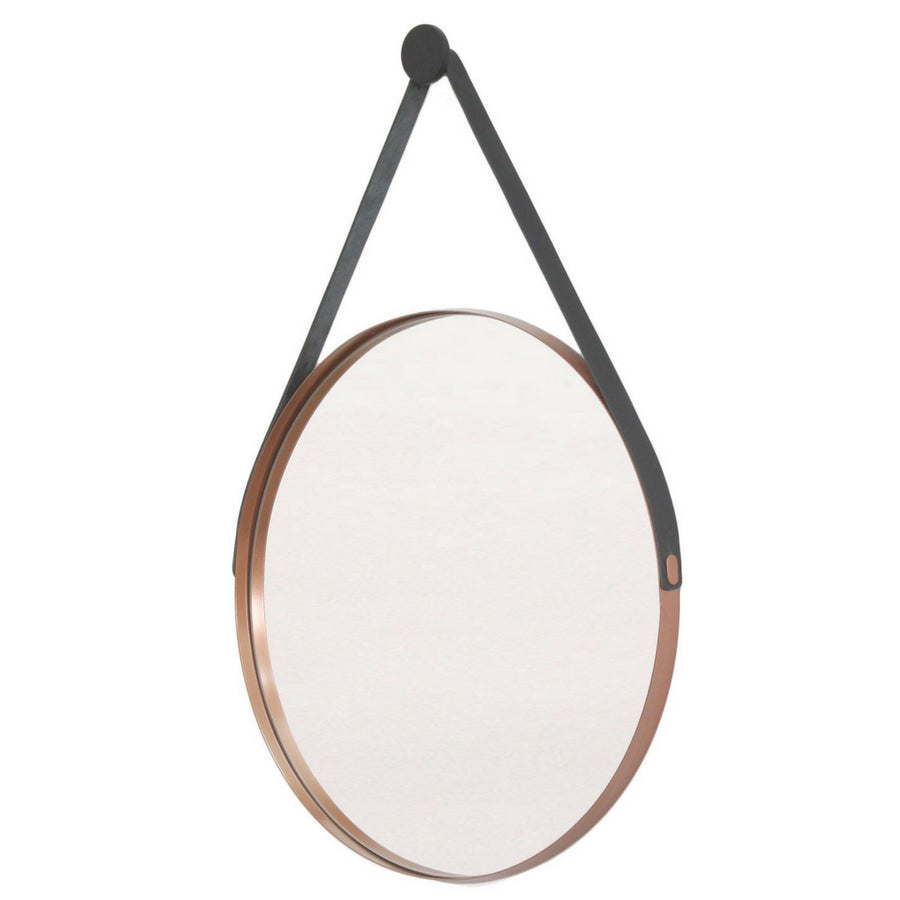 Leather Strap Deep Frame Circular Mirror - KNUS