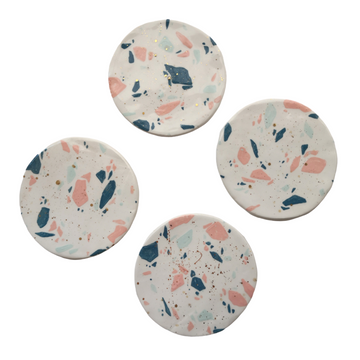 Terrazzo Ceramic Coaster Set with Gold - KNUS
