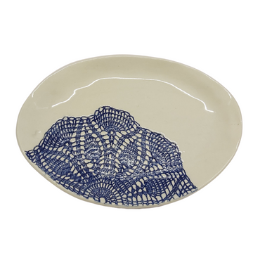Extra Small Blue Lace Oval Platter - KNUS