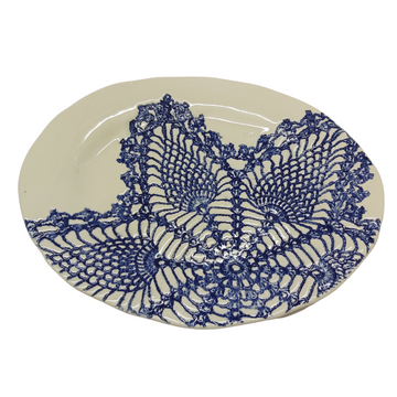 Small Blue Lace Oval Platter - KNUS